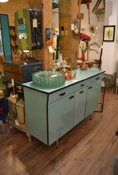 Alacena francesa a os 60 formica verde agua marina retro - Cocinas anos 50 ...