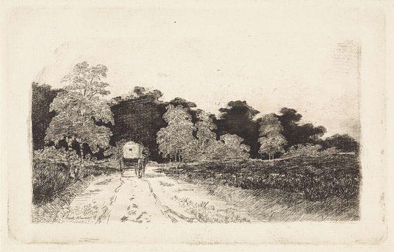 Elias Stark | Huifkar op een weg te Driebergen, Elias Stark, 1887 |