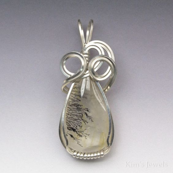 Dendrite Dendritic Plume Agate Sterling Silver Wire Wrapped Pendant #KimsJewels #Pendant