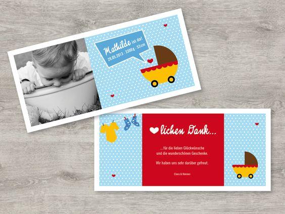 """Baby- & Geburtskarten - Dankeskarte Geburt """"Kinderwagen"""" - ein Designerstück von Cardswithlove bei DaWanda"""