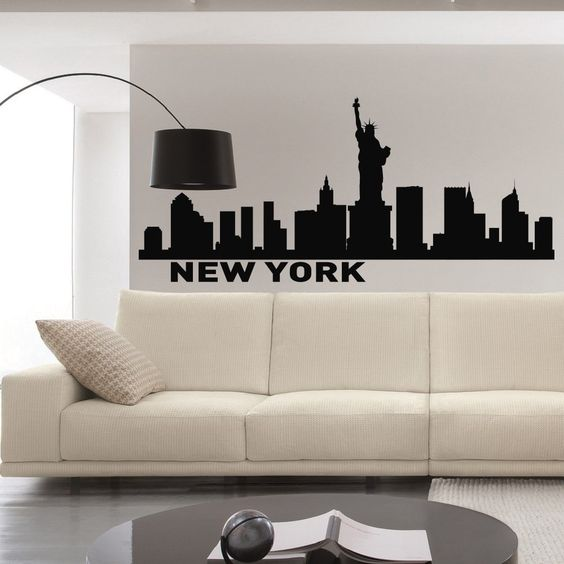 Wall Decals In Dorms : New york skyline wall decals vinyl stickers nyc