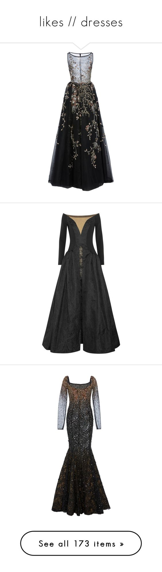 """""""likes // dresses"""" by echoes-of-reason ❤ liked on Polyvore featuring dresses, gowns, event, georges hobeika, black, ankle length skirt, sheer skirt maxi dress, embroidered long skirts, sheer evening dresses and long sheer skirt"""