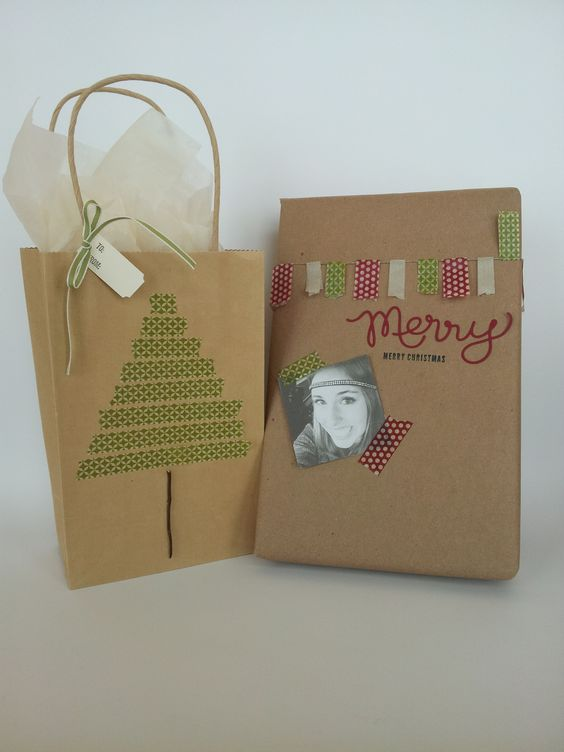 Use washi tape to make festive shapes on your packaging!  As seen on Good Things Utah! http://s.tamp.in/1erFhPF