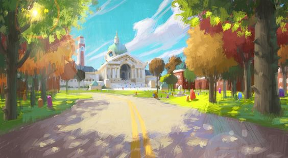 Gorgeous New Monsters University Concept Art | Pixar News via PinCG.com