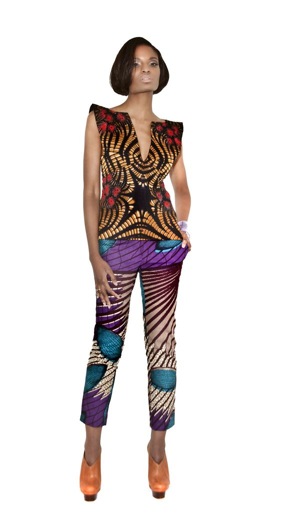 Trendy crop trousers a great for any occasion Ankara AfricanFashion Trousers AfricanPrint