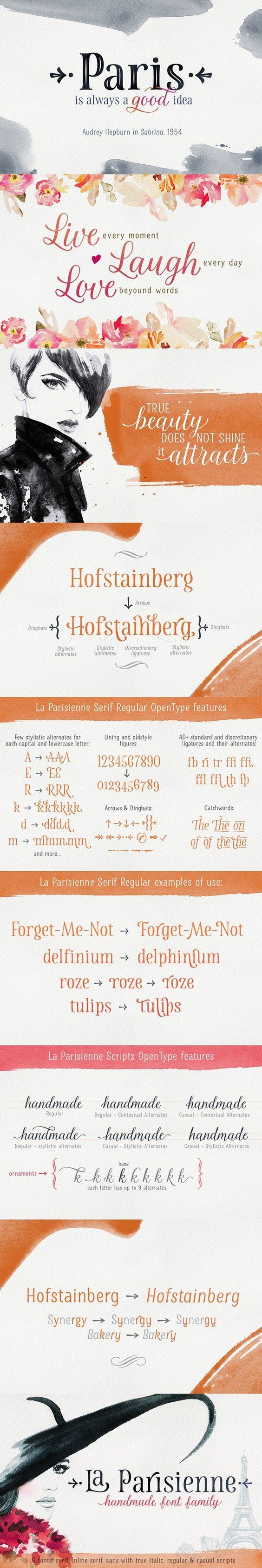 La Parisienne Font Collection. Wedding Fonts. $64.00