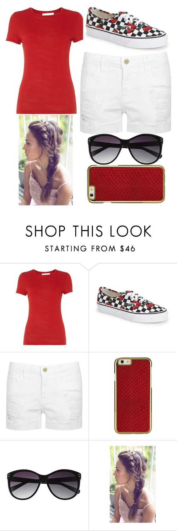 """#Red"" by swimminwithsharks ❤ liked on Polyvore featuring HUGO, Vans, Frame Denim and Vince Camuto"