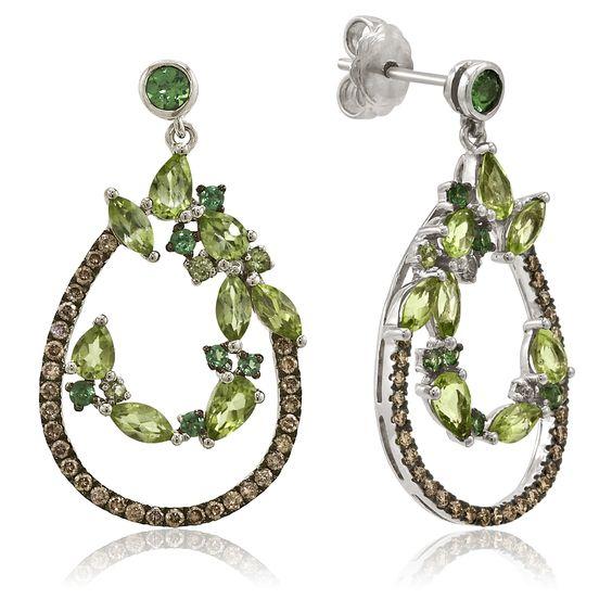 Le Vian 14K White Gold, Green Apple Peridot & Tsavorite Gemstone Dangle Earrings