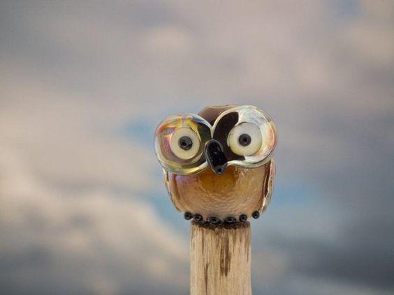 Grouchy Granny lampwork owl bead by DeniseAnnette on Etsy, $11.00