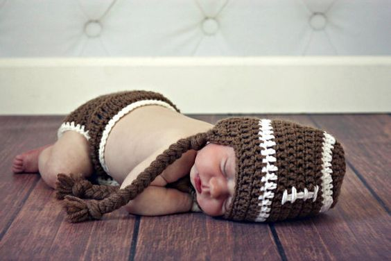 Crochet Football Hat and Diaper Cover Set  by TheAppleandTree