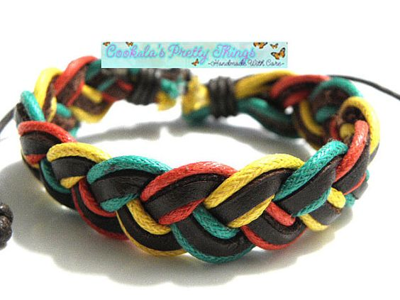 Surfer Bracelet braided leather and hemp by CookalasHouseOfCards, $3.94