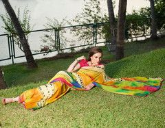 Party Wear  Faux Georgette Art Silk Printed Saree