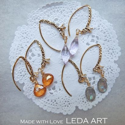 gold filled ear hooks with cz and gemstone