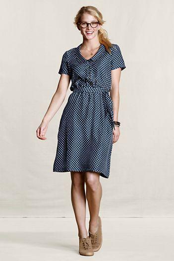 Canvas-Land's End  Women's Silk Polka-Dot Dress  $130