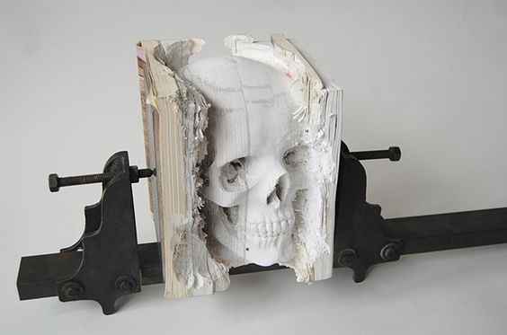 sculpted from old books: