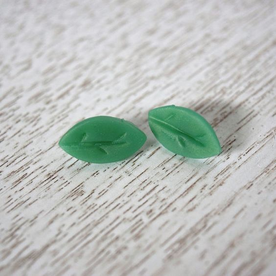 Simple Green Leaf Stud Polymer Clay Earrings by LittlestOven