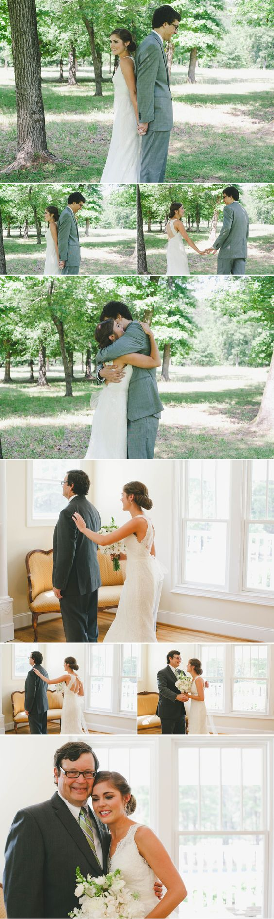 first look: one with groom, one with Dad