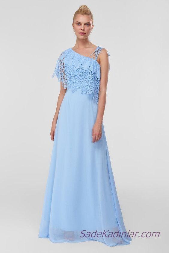 2019 Sifon Abiye Elbise Modelleri Bebek Mavisi Uzun Tek Askili Yakasi Dantel Detayli Elbise Modelleri Elbise Sifon Elbise