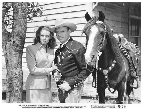 Barbara Britton with Gene Autry (Loaded Pistols)