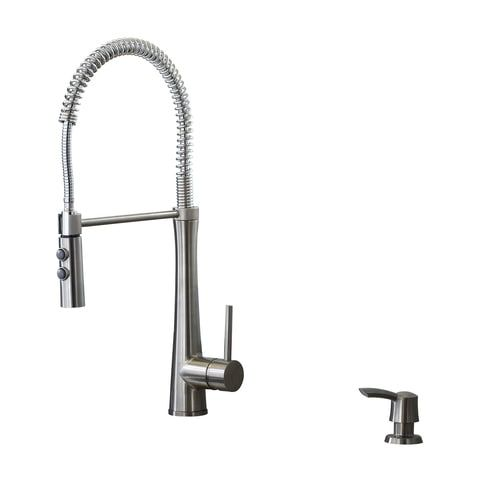 Giagni Fresco Stainless Steel 1 Handle Deck Mount Pre Rinse Handle Kitchen Faucet Deck Plate Included Lowes Com In 2020 Kitchen Faucet Kitchen Faucets Lowes Faucet