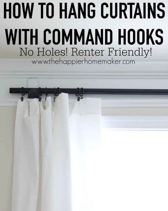 How To Hang Curtains With Command Hooks For The Sheer Curtains In The Bay Window Diy