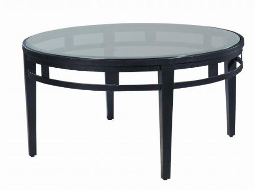 """Allan Copley Designs 2202-01R-G Madrid Round Glass Top Cocktail Table by Allan Copley Designs. $1149.00. Color(s): Oil Rubbed Bronze.. Timeless Design and Detail.. No Assembly Require.. Stretcher Apron for Added Styling and Support.. 3/8 Thick, 1 Beveled Inset Glass Top.. The Madrid Collection by Allan Copley Designs brings beauty and ambiance to any room's decor. With its Oil Rubbed Bronze finish on the metal base and 3/8"""" Thick Beveled Glass Inset Top, a sleek, con..."""