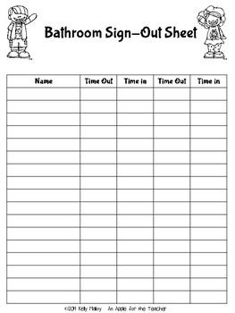 FREE BATHROOM PASSES AND SIGN-OUT SHEET - TeachersPayTeachers.com