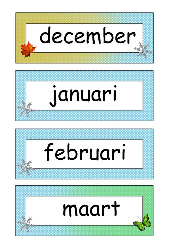 Maanden met aangeduide seizoenen, gemaakt door Els Van Aelbrouck