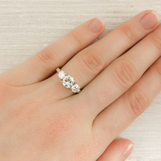 Vintage Tiffany & Co Three Stone Engagement Ring