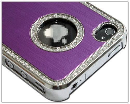 Luxury Bling Czech Rhinestone Case Cover For Apple iPhone 4 4G 4S ATT and Verizon SilverPurple