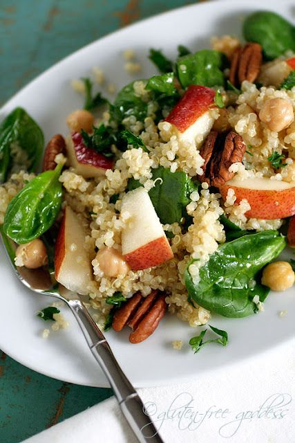 Quinoa salad with pears, baby spinach and chick peas in a maple vinaigrette...sounds yummy!
