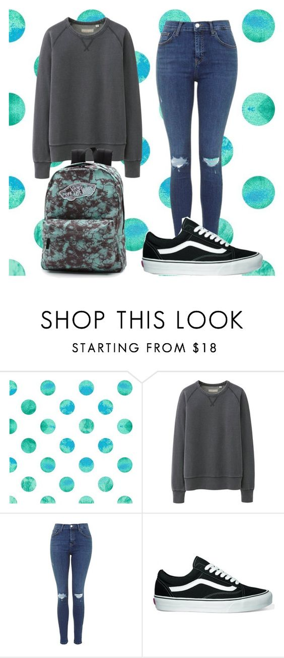 """""""School #5 """" by danyfrizzy ❤ liked on Polyvore featuring Uniqlo and Vans"""