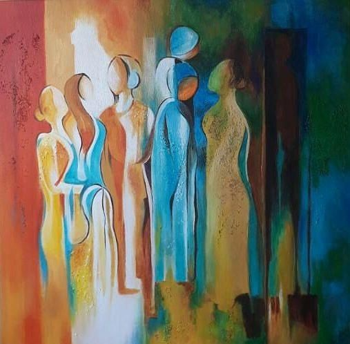 Women Power by Chetna Pandya in 2020 | Painting, Abstract art painting,  Indian paintings