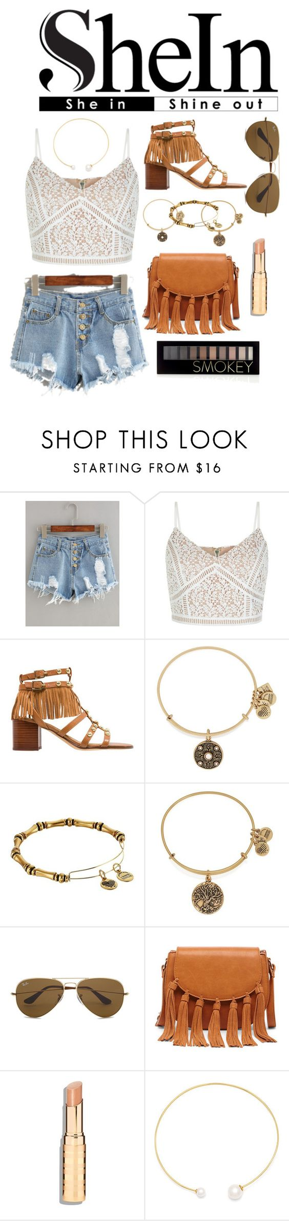 """""""Gold n' Tassels Summer Style"""" by akchaney03 ❤ liked on Polyvore featuring New Look, Sam Edelman, Alex and Ani, Ray-Ban, Sole Society, Fallon and Forever 21"""