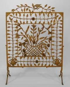 American Victorian Painted Wrought Iron Large Filigree Fire Screen With Floral Design Of Leaves And Flowers With A Figure Of A Bird On Top