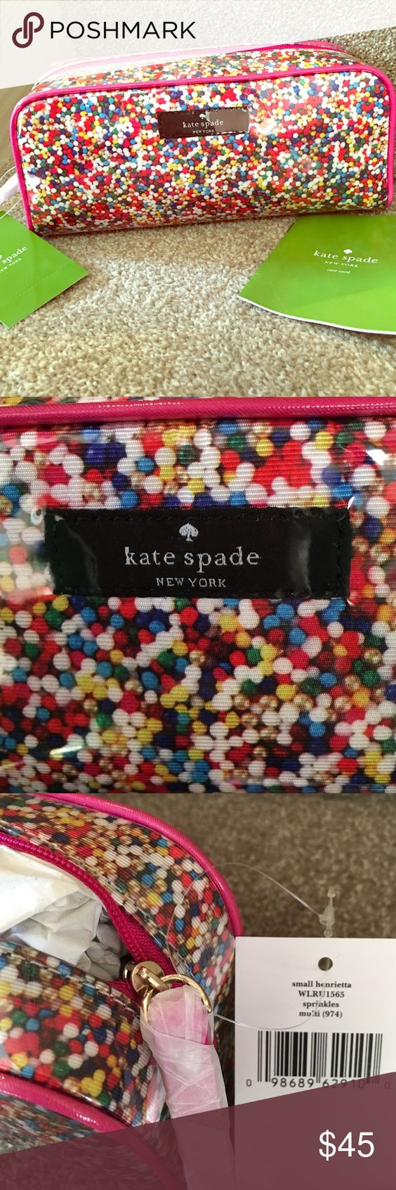 """Kate Spade cosmetic case Small Kate Spade Henrietta cosmetic bag. NWT and care card! Beautiful, bright sprinkles print and Kate Spade logo covered in pvc. 3.5"""" h and 7.7"""" w. kate spade Bags Cosmetic Bags & Cases"""