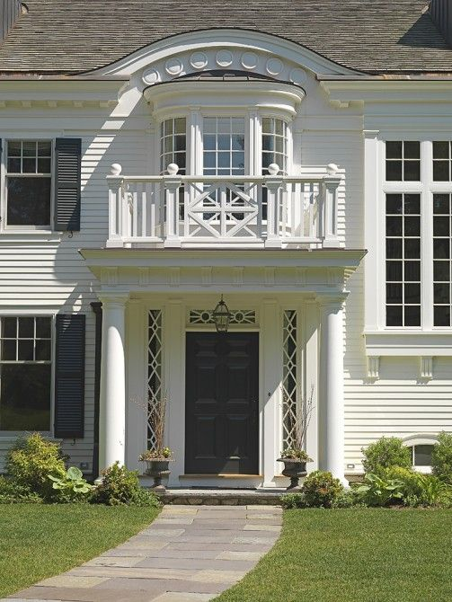 Beautiful Things We Love: White Clapboard Houses | Front Entry, Hanging Lanterns And  Architects