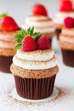Chocolate Angel Food Cupcakes with Chocolate Cream Cheese Whipped Cream
