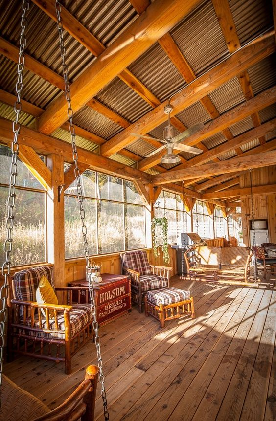 Corrugated Steel On Porch Ceiling Rustic Modern