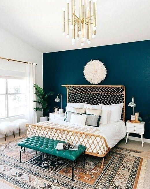The Gold Accents In This Bedroom Match The Blue Green Accent Wall Every Fashion Girl Would Find This Perfect Bedroom Inspirations Remodel Bedroom Home