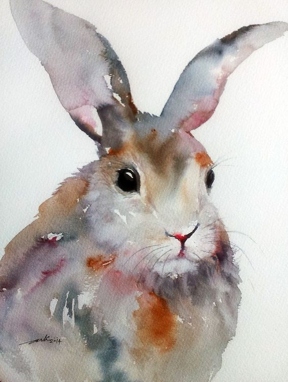 ARTFINDER: Gray Hare by Arti Chauhan - A cute rabbit in grayish-pink tones and with a soft, velvety fur. I have painted him in very wet style, with hardly any brush marks visible- so that the artw...