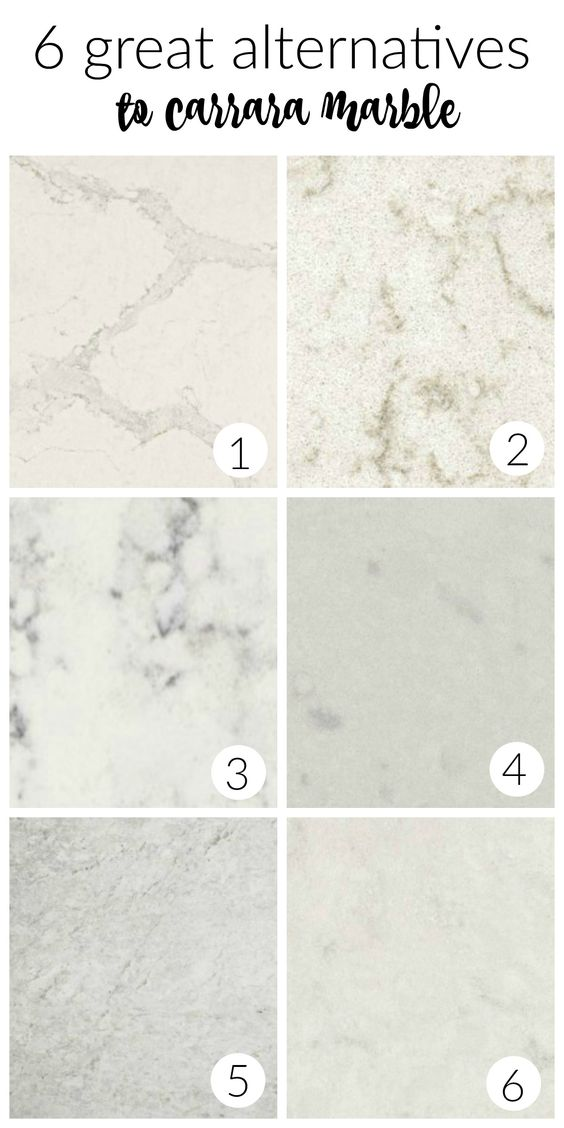 I like #5 a lot!!! 6 Great Alternatives to Carrara Marble Countertops In Your Farmhouse Kitchen
