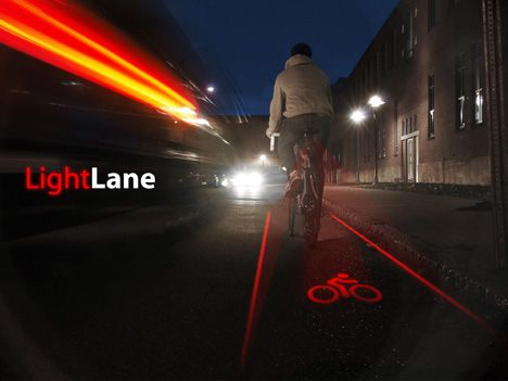 LightLane projects a crisply defined virtual bike lane onto pavement, using a laser, providing the driver with a familiar boundary to avoid. With a wider margin of safety, bikers will regain their confidence to ride at night, making the bike a more viable commuting alternative.