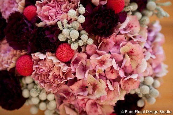 Hydrangeas, Billy Balls, Brunia Pods, & Carnations  www.rootfloraldesign.com