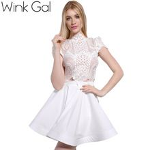 Wink Gal 2016 Primavera Vestido Curto Vestido Branco Escavar Sexy Vestidos Das…