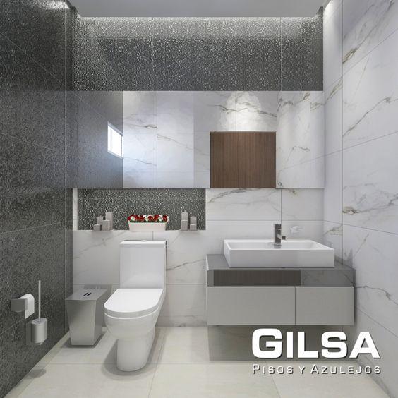 Cuarto de baño de estilo contemporáneo. Materiales utilizados: (En muro): Porcelanato Marmi Bianco Paonazzetto 60x120 de Portobello y Cubica Negro 33x100 de Porcelanosa. (En piso): Porcelanato Getafe 80x80 de GANTE.