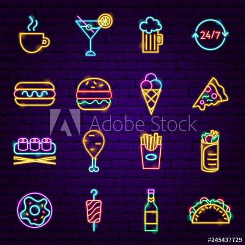 Fast Food Neon Icons In 2020 Neon Neon Signs Instagram Logo