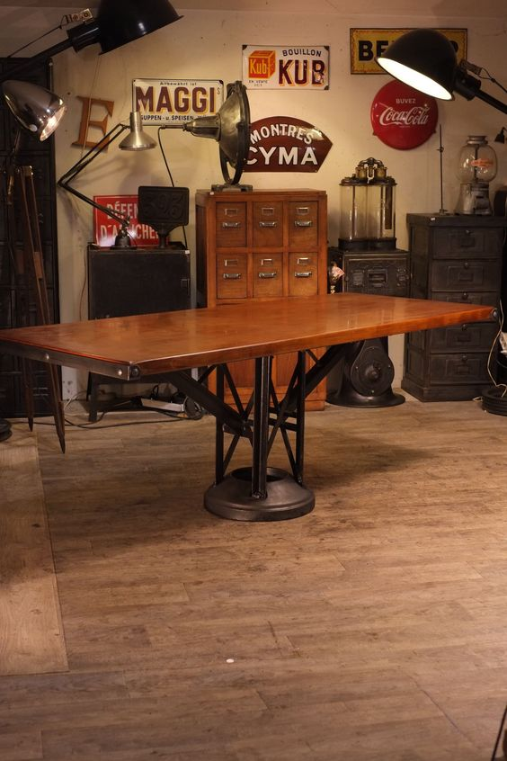 Table ancienne pied fonte deco meuble industriel vintage industrial a - Deco industriel vintage ...