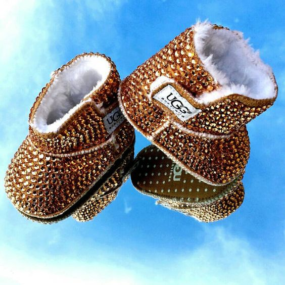 Bedazzled Bling Baby Shoes Brown fur boots by SavvyBabyShoes