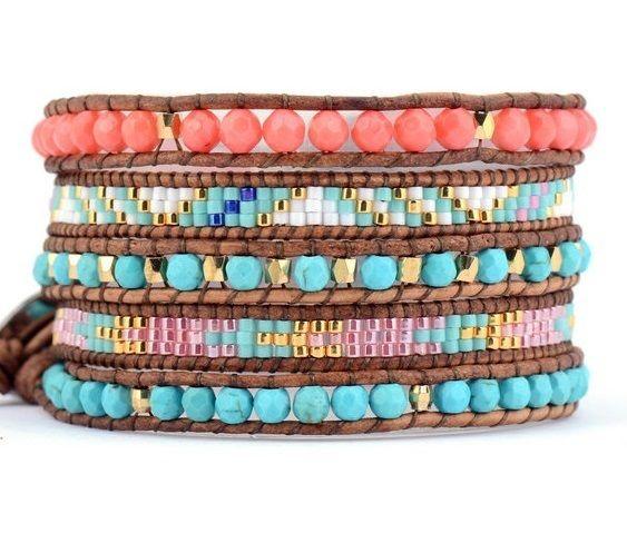 Wrap Bracelet - Pink Coral Turquoise Seed Bead Bohemian Pattern Beaded Bracelet;